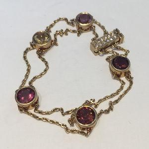 18 kt gold natural tourmaline & citrine bracelet